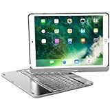 iPad 9.7 2018 Arabic Keyboard Case, 7 Colors Adjustment LED Backlit and Breathing Light Aluminum Wireless Bluetooth Keyboard with 360 Degree Rotatable Cover for iPad 9.7 2018 A1893 A1954 (Silver) (Keyboard Ipad Arabic)