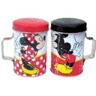 4 Inch Colorful Mickey and Minnie Kissing Tin Salt and Pepper Shakers