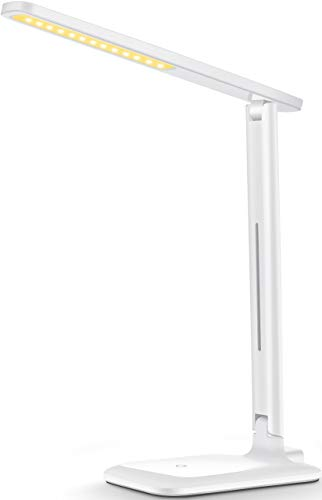 LED Desk Lamp LITOM EyeCaring Office Desk Lamp with 9 Light Mode Touch Control Memory Function Foldable LED Lamp Dimmable Table Lamp for Reading StudyingWorking White