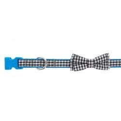 TOP PAW Black & White With Blue Border Gingham Bow Dog Collar - Bow Border