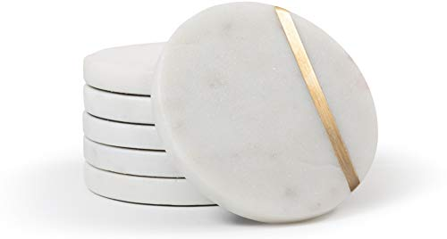- Cork & Mill Marble Coasters - Handcrafted Natural Stone Coasters - Grey/White Coaster + Brass Inlay - 4