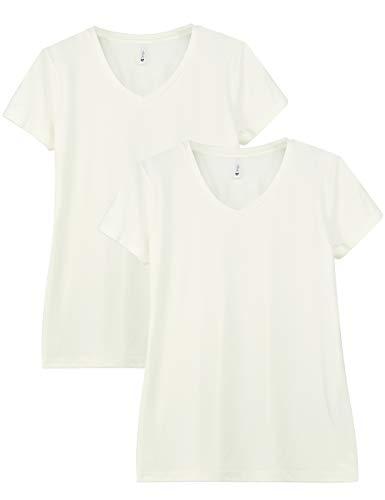 Women's Basic Gym Shirts 2-Pack V Neck Yoga Tops Short Sleeve Tech Stretch Workout Shirts for Women(M,Vanilla/Vanilla)