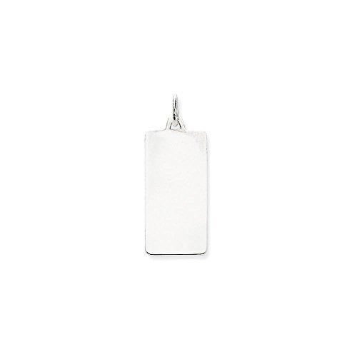 14k White Gold Plain .018 Gauge Rectangular Engravable Dog Tag (Pendant Dog Rectangular Tag)