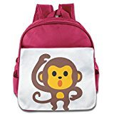 Custom Personalized Cute Monkey Emoji Boys And Girls School Bagpack For 1-6 Years Old Pink