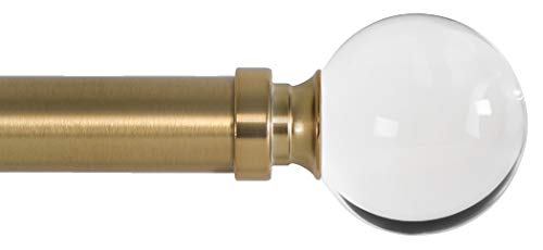 Ivilon Drapery Treatment Window Curtain Rod - Acrylic Ball 1 inch Pole. 72 to 144 Inch. Warm Gold