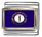Kentucky State Flag Italian Charm Bracelet Link 9mm Italian Charm Patriotic Flag