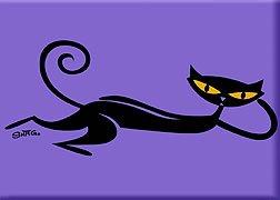 (Artist SHAG (Josh Agle) Lounging Cat Fridge Magnet)