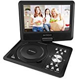 9'' Swivel Screen Portable DVD Player with 5 Hour Built-In Rechargeable Battery, 1.8M Car Charger and Power Suppler, Remote Control, SD Card Slot and USB Port by ONTROWA – Black
