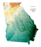 Raven Maps Georgia Topographical Wall Map, Laminated Print