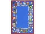 Joy Carpets Kid Essentials Language & Literacy Reading Train Rug, Multicolored, 5'4'' x 7'8''