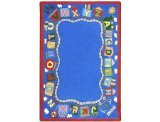 Joy Carpets Kid Essentials Language & Literacy Reading Train Rug, Multicolored, 5'4'' x 7'8'' by Joy Carpets