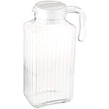 Glass Ware Ribbed Pitcher With Lid And Handle Iced Tea Water etc Lid is White 1.8 L. Juices For Milk Sleek And Elegant