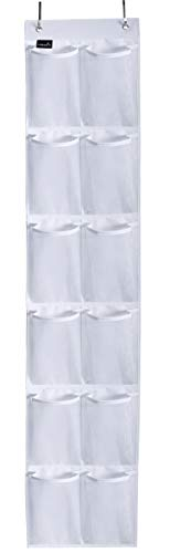 MISSLO Heavy Duty Over The Door Storage with 12 Mesh Pockets (White) -
