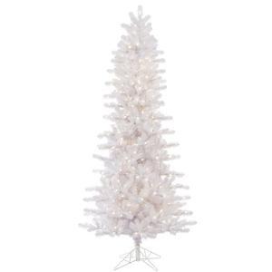 Lit Crystal Artificial Christmas Tree - Vickerman Pre-Lit Slim Pine Tree with 500 Warm White Italian LED Lights, 7.5-Feet, Crystal White