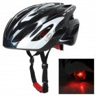 SMS Bike Cycling Safety Helmet w/ Red Caution Light - Black + White