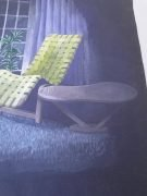 The King's Bay Danish Modern Pastel Painting on Black w Eames Era Garden Chair & Side Table WOW