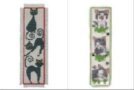 2 Item Cross Stitch Bookmark Kit Bundle : Cute Grey Cat and Black Cat (Cross Stitch Black Cat)