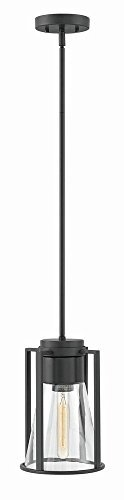 Hinkley 63307BK-CL Restoration One Light Pendant from Refinery collection in Blackfinish,