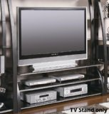 (Coaster Contemporary Matte Black TV Console with Shelves)