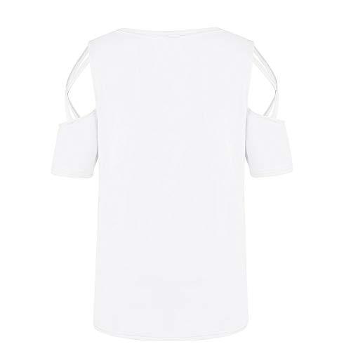 Blanco Mujer Mujeres Mujer Manga Mangas Cortas blusas Hombro Sólido Tallas Grandes Verano Estampado Camiseta Color De Corta Para En Del Fuera 4znwAxIR7q