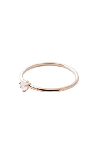 HONEYCAT Rose Quartz Crystal Point in 18k Rose Gold Plate | Minimalist, Delicate Jewelry (Rose Gold 8) (Quartz Rose Ring Gold Rose)
