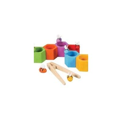 PlanToys Wooden Beehives Sorting Game (4125) | Sustainably Made from Rubberwood and Non-Toxic Paints and Dyes: Toys & Games