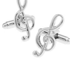 Music Shaped Cufflinks with Cuff Link Display Gift Box (Treble Clef) (Shaped Cufflinks)