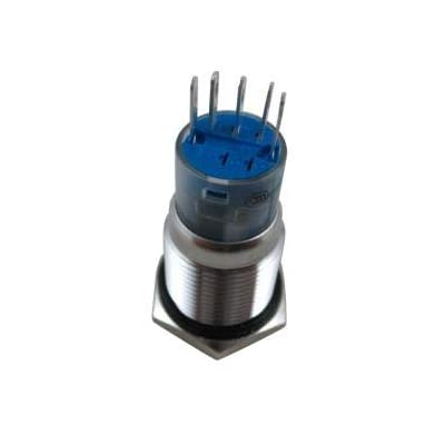 """DIGITEN Latching Push Button Switch 12V Blue Angel Eye LED Button Switch ON/OFF Waterproof Stainless Steel for 16mm 5/8"""" Car or Boat Mounting Hole with Wire Connector: Automotive"""