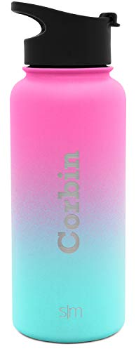 (Simple Modern 32oz Personalized Summit Water Bottle - Gifts for Men & Women Custom Laser Engraved Name - Hydro Vacuum Insulated Flask with 2 Lids Leakproof Thermos Ombre: Sorbet)