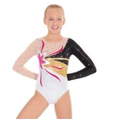 EUROTARD 3222C FLOWER POWER MULTI COLOR L/SLEEVE COMP GYM LEOTARD CL by EUROTARD 3222C GYM LEOTARD CL