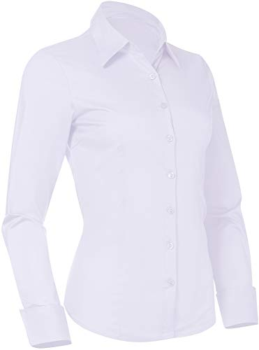 Pier 17 Button Down Shirts for Women, Fitted Long Sleeve Tailored Work Office Blouse (X-Large, New White)