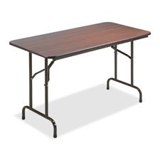 Brown Economy Folding Table (Lorell Folding Table, 48 by 24 by 29-Inch, Mahogany)