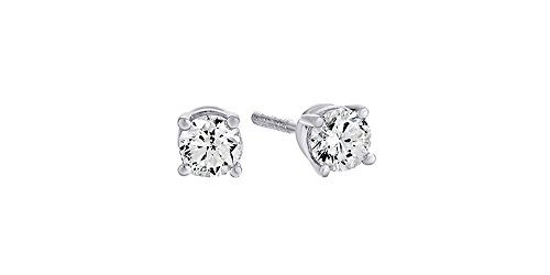 10K Solid White Gold Natural Diamond Solitaire Stud Earrings With Screw Back (0.2 (0.2 Ct Diamond Earrings)