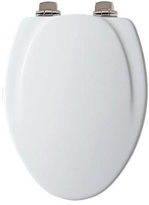 Mayfair Elongated Toilet Seat Elongated, Molded Durable Multi Coat Enamel White Brushed Nickel