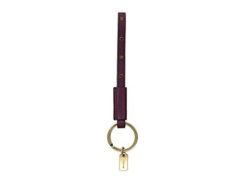 COACH Women's Studded Loop Key Fob B4/Dark Berry One Size (Coach Key Leather)