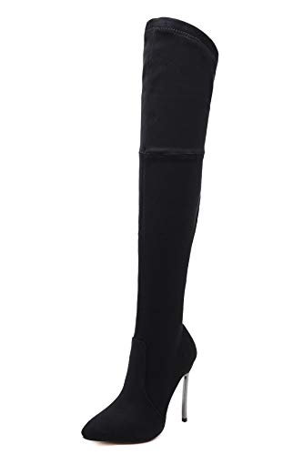 Pofameeta Women Boots Pointed Toe Over The Knee Boots Thigh High