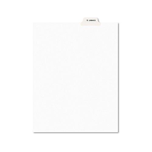 Avery 11946 Avery-Style Preprinted Legal Bottom Tab Divider, Exhibit G, Letter, White (Pack of 25)