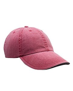 Anvil 166 6-Panel Pigment-Dyed Twill Sandwich Cap, Red Rock and Navy