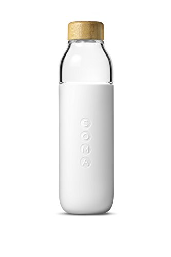 Soma Glass Water Bottle – Eco-Friendly Alternative to Bottled Water – BPA Free 17oz - Stay Hydrated – Wide Mouth -- Shatter-resistant Borosilicate Glass (White)