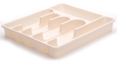 Rubbermaid 2925-RD BISQUE Large Bisque Plastic Cutlery Tray - Quantity 6