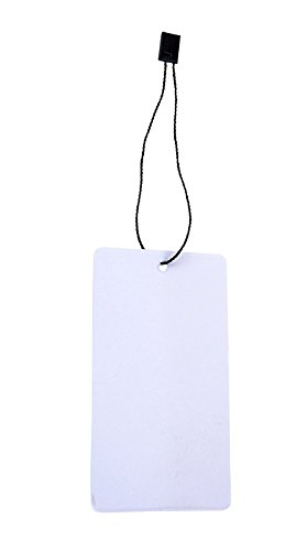 Hang Tags with Strings (Rectangle) - Combo Pack 100 White Cardstock Swing Tags with Black Nylon Fasteners (Hang Tags 100)