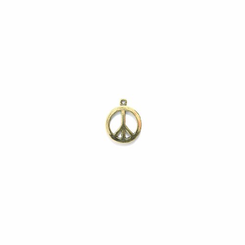 Shipwreck Beads Pewter Peace Sign Charm, Antique Gold, 15mm, 4-Piece ()