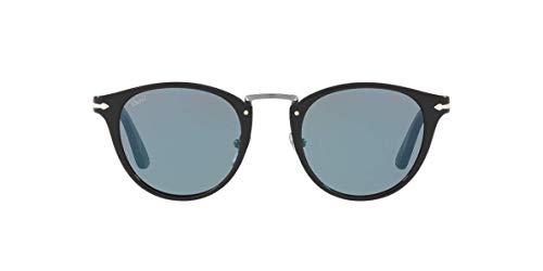 Persol Designer Sunglasses - Persol PO3108S - 95/56 Sunglasses Black w/ Light Blue Lens 49mm