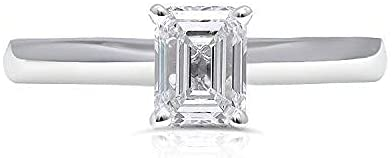 UNITED WORLD DIAMONDS 1.00 Carat Lab Created Emerald Cut Classic Solitaire Diamond Engagement Wedding Ring for Women with 10kt White Gold (Color I+/ Clarity SI1+ / SIZE 7 )