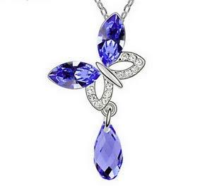 New Womens Butterfly Blue Crystal Rhinestone Silver Chain Pe