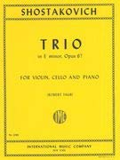 Trio in E Minor, Opus 67 By Dmitri Shostakovich. Edited By Robert Taub. For Violin, Cello and Piano. 20th Century. Difficulty: Difficult. Performance Parts. Standard Notation and Piano Accompaniment. Composed 1944. 66 Pages.
