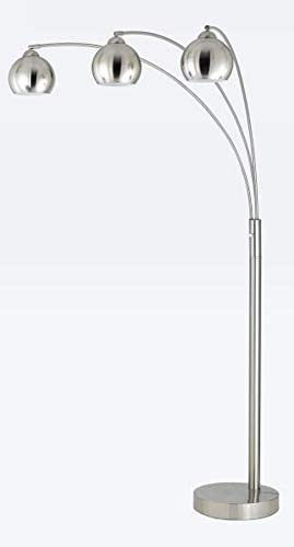 Cal Lighting BO-2030-3L-BS Contemporary Modern Three Light Floor Lamp from Arc Collection in Pwt, Nckl, B/S, Slvr. Finish, 42.00 inches