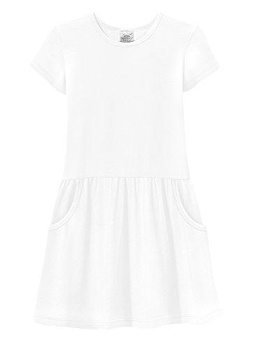 City Threads Girls Jersey Short Sleeve Drop Waist French Pocket Dress Cotton SPD Sensory Sensitive Summer School Party, White, -