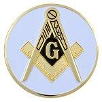 (D575SC6 Masonic Square & Compass White Die Struck Auto Emblem 2)