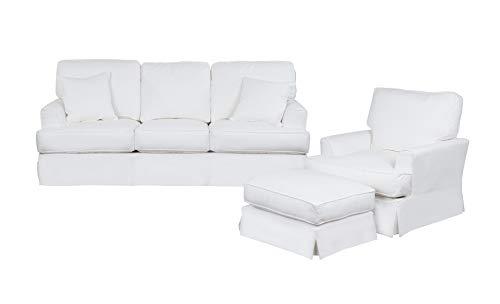 Fabric Slipcovered - Sunset Trading SU-78341-20-30-81 Ariana 3 Piece Living Room Set, White